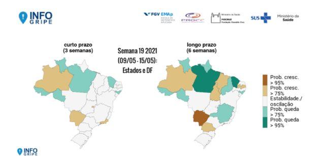 Mapa da tendência de internações por SRAG no Brasil, da FioCruz