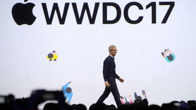 Tim Cook, director ejecutivo de Apple, durante el congreso anual de desarrolladores de la compañía en San José.