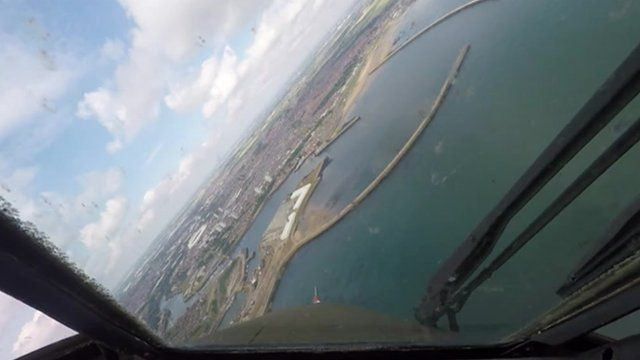 The view of Wearside from a Bronco turboprop aircraft