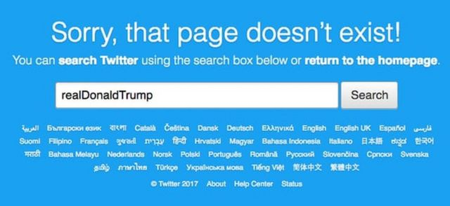 "Message on Twitter page that reads: ""Sorry, that page doesn't exist!"""