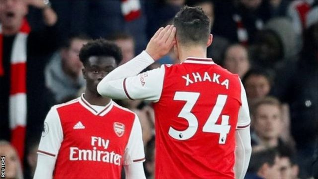 Granit Xhaka was booed by fans as he was replaced by Bukayo Saka after his side blew a 2-0 lead against Crystal Palace