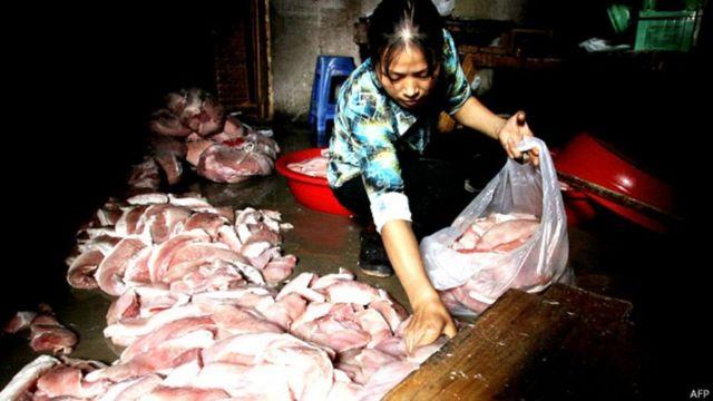 Mercado de carne na China