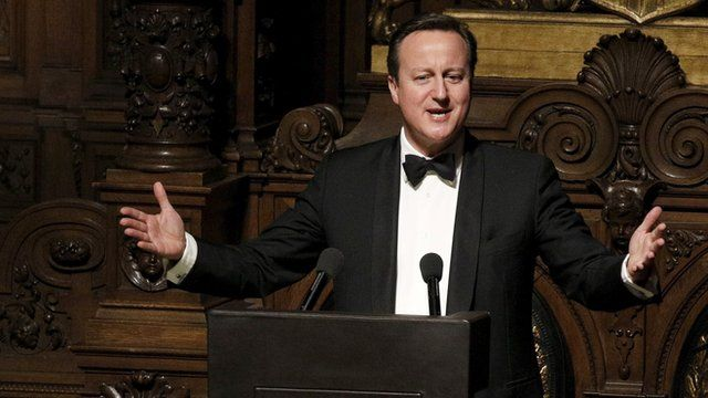 Britain's Prime Minister, David Cameron, speaks in Hamburg