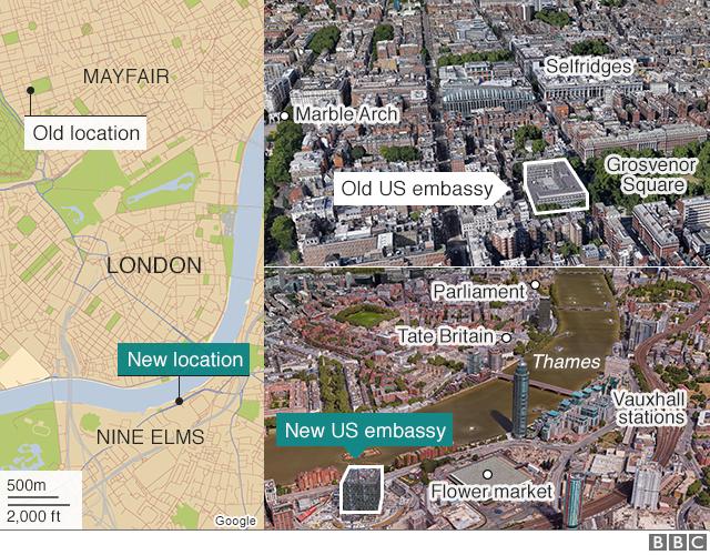 Us Embassy London Map Donald Trump renews criticism of 'lousy' London embassy   BBC News