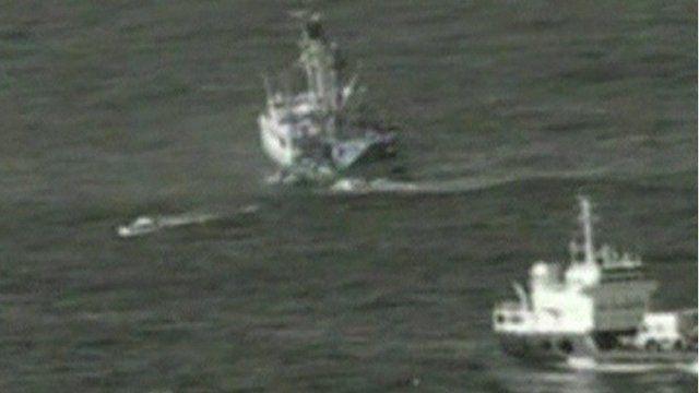 Stricken vessel and recue ship