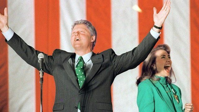Bill and Hillary Clinton in 1992