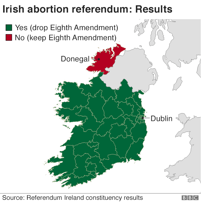 Map showing how the 40 constituencies voted in the Ireland abortion referendum