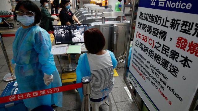 Checks on passengers on Taiwan's subway system