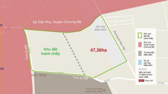 Bản đồ khu đất tranh chấp và khu 47,36ha dựa trên bản đồ ông Lê Đình Kình cung cấp cho BBC Việt Ngữ