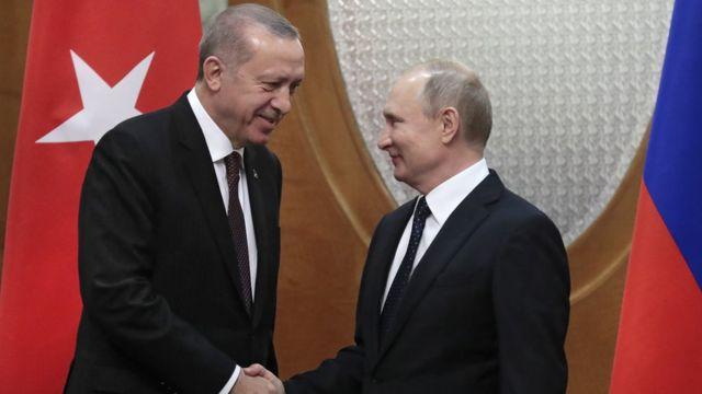 Реджеп Тайип Эрдоган (слева) и Владимир Путин в Сочи 14 февраля 2019 года