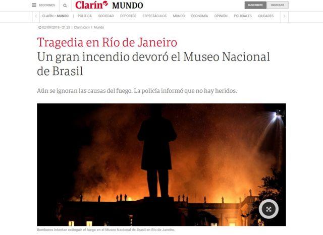 """Clarín cita """"tragédia"""" em reportagem publicada no site"""