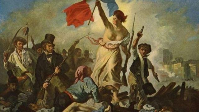 """""""الحرية تقود الشعب"""" لوحة للفنان الفرنسي فرديناند فيكتور أوغين دي لاكروا"""
