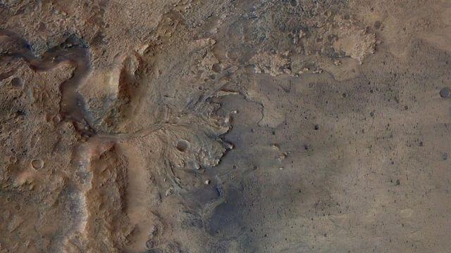 Imagen del cráter Jezero, donde aterrizará Perseverance
