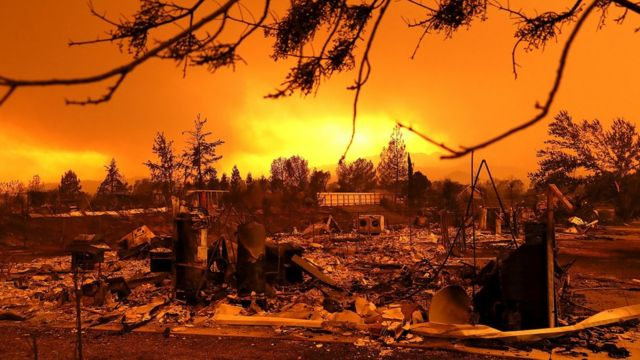 A view of homes that were destroyed by the Carr Fire on July 27, 2018 in Redding, California