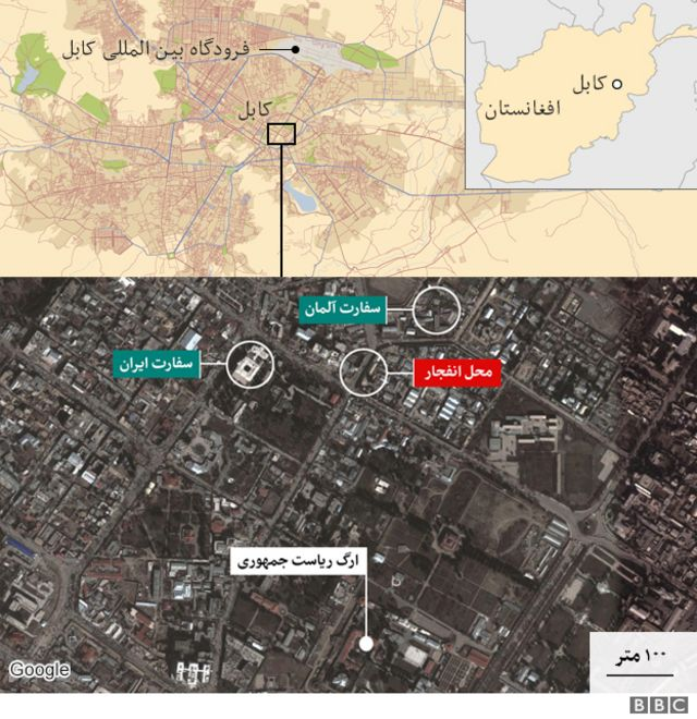نقشه محل حمله کابل