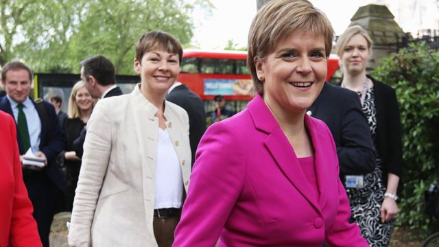 Scottish First Minister Nicola Sturgeon and Green Party MP Caroline Lucas in Westminster, London. 23 May 2016.