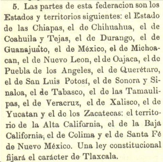 Artículo 5 de la Constitución de 1824