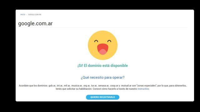 Captura de pantalla de la página NIC, que le permitió a Nicolás comprar www.google.com.ar