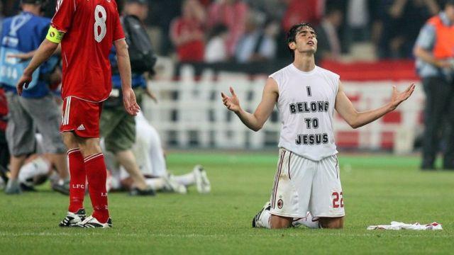 Kaká praying on the pitch