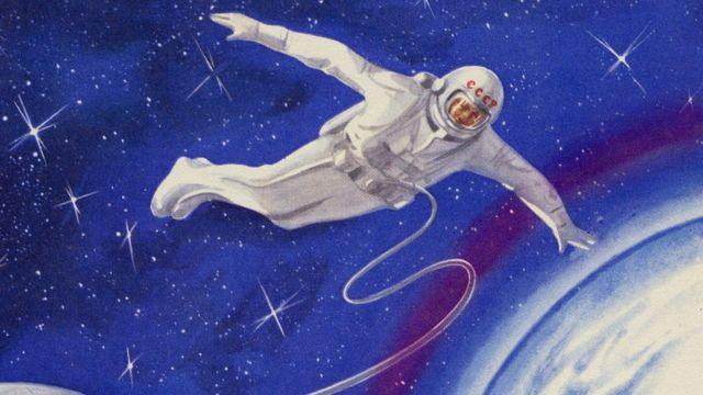 Ilustración de la primera caminata espacial rusa