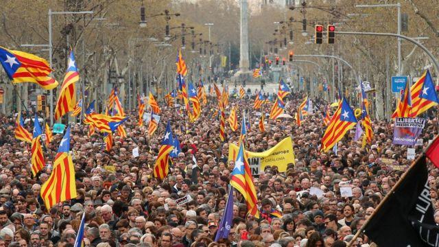 Una marcha en Barcelona por Carles Puidgemont