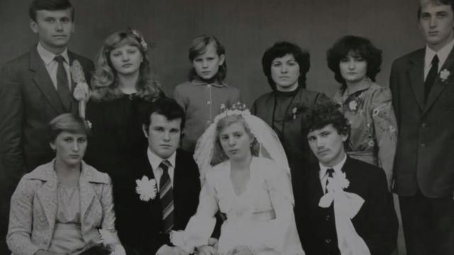 Lyudmila y Vasily Ignatenko el día de su boda