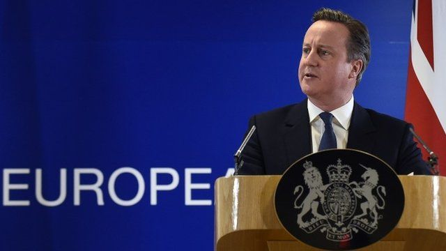 David Cameron speaking in Brussels