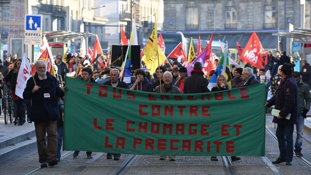 Manifestantes en Burdeos protestando contra el desempleo, en diciembre de 2016..
