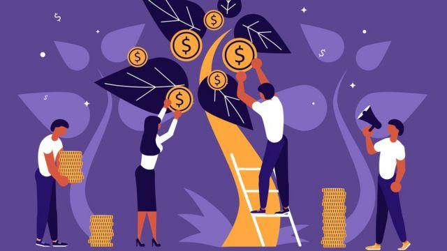 Ilustração de pessoas colhendo dinheiro em árvore
