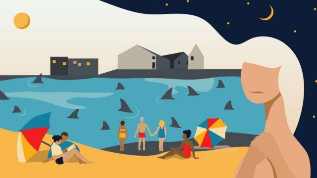 Bir kadın rüyasında köpek balıklarıyla dolu bir sahilde maskesiz insanları farkettiğini anlatıyor