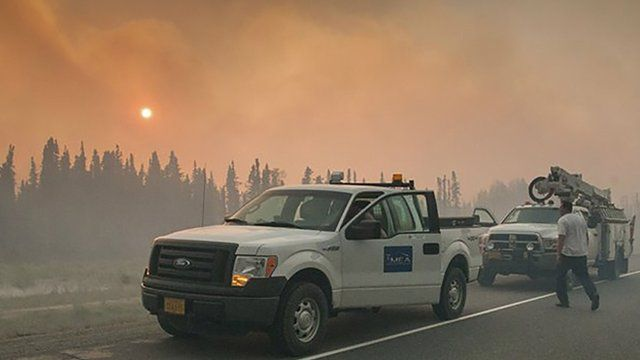 Smoke from wildfires in Alaska