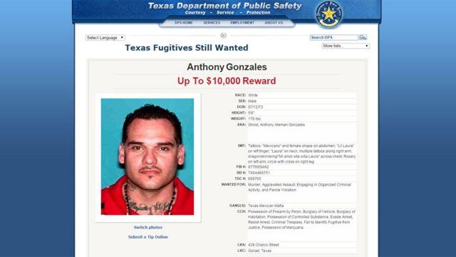 Recompensa por localizar a Anthony González