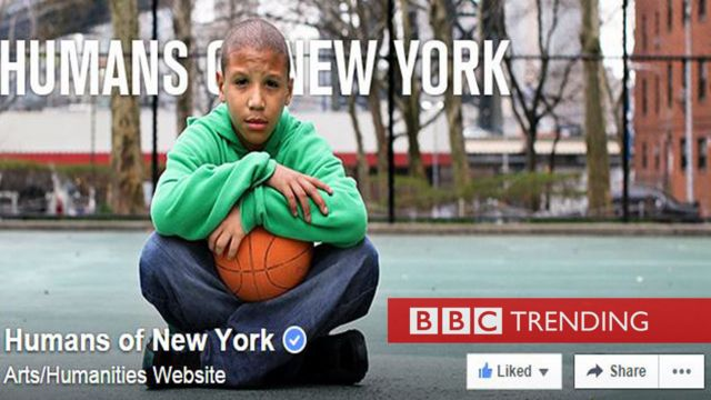 Facebook page of Humans of New York