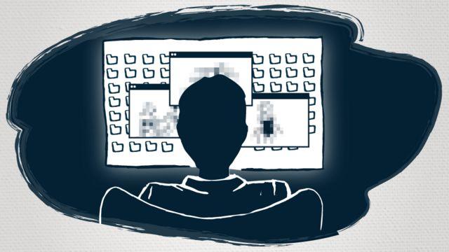Ilustración de un hombre sentado frente a un computador
