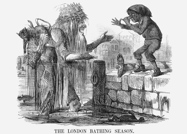 """'La temporada de baño en Londres', 1859. """"¡Ven, cariño! - ven a tu viejo Támesis y date un buen baño!"""", le dice el padre Támesis a un niño, mientras una baba le chorrea y lo rodean animales muertos flotando en la superficie del agua pestilente."""