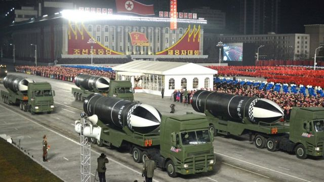 Weapons at a military parade in Pyongyang.