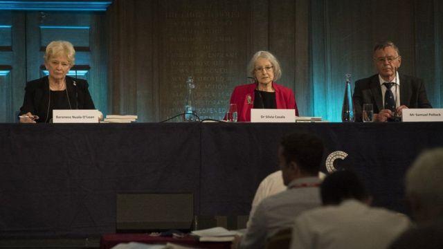 Heyet üyeleri Nuala O'Loan, Silvia Casale ve Samuel Pollock bir basın açıklaması ile hazırladıkları raporu duyurdu