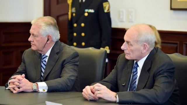 美国国务卿蒂勒森和国家安全部部长约翰·凯利