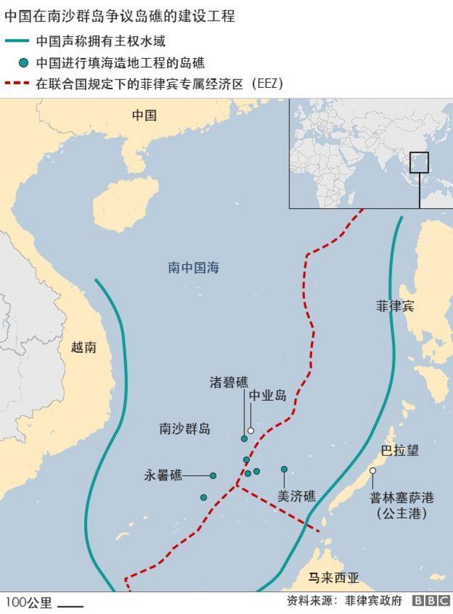 地图:南中国海争议岛礁的建设工程