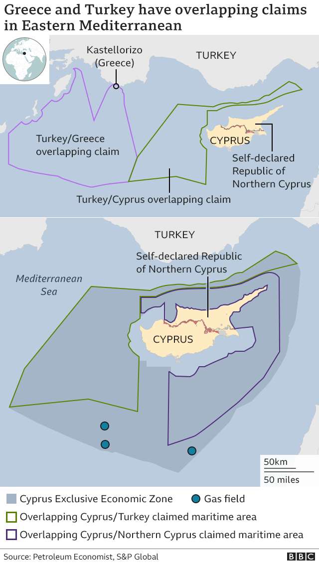 Competing Greek and Turkish claims in the Med map