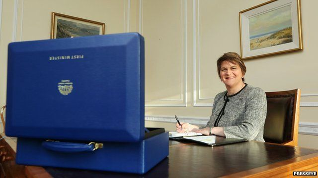Arlene Foster at her desk in the first minister's office