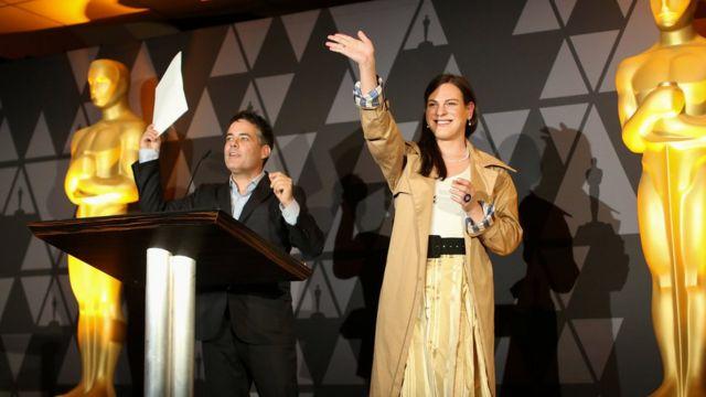 Leilo y Vega en el cóctel de nominación de los Oscar.