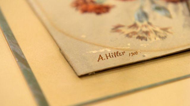 Firma de Adolf Hitler en uno de sus cuadros.