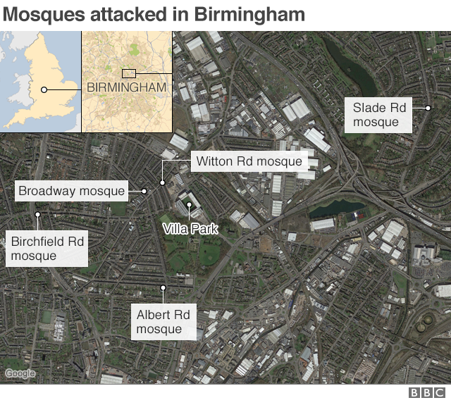 A map showing the locations of the Birmingham mosque attacks