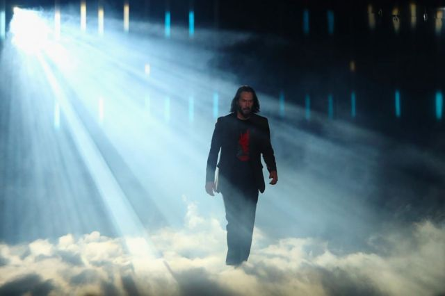 Keanu Reeves at the presentation of Cyberpunk 2077