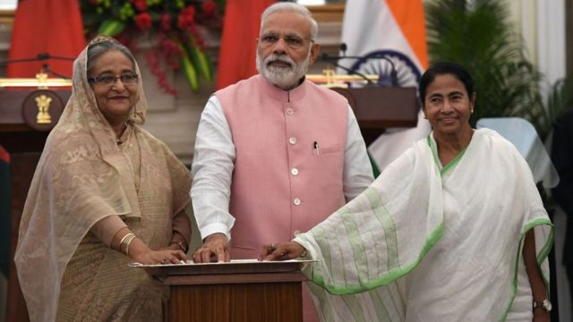 শেখ হাসিনা, নরেন্দ্র মোদী এবং মমতা ব্যানার্জী