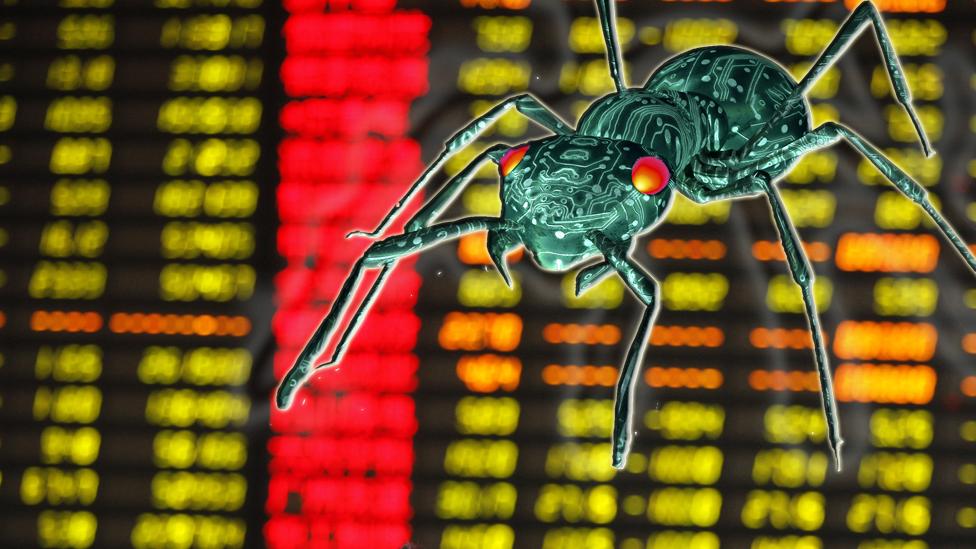 Ilustração de uma formiga em frente a gráficos financeiros