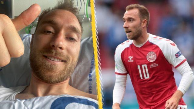 Christian Eriksen, hastanede iyileşirken ve Danimarka için oynarken başparmağı yukarıdayken görüntülendi