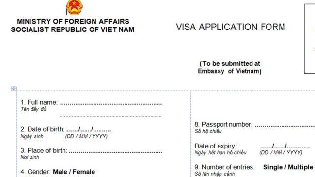 Mẫu xin visa Việt Nam dùng cụm từ 'full name'