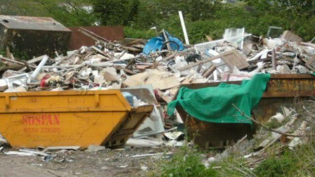 Sospan Skips full of rubbish